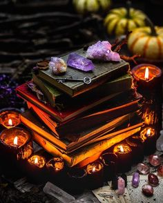 I love the moodiness of this altar with all the books and crystals and candles. And pumpkins! Wiccan, Witchcraft, Religion Wicca, Maleficarum, Season Of The Witch, Modern Witch, Mabon, Witch Aesthetic, Gothic Aesthetic