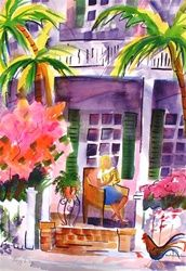 Lazy Day Key West!  All about a perfect afternoon in Key West!  Original watercolor painting by Christine Cordone Smith!