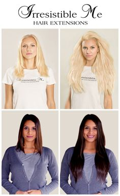Make a dramatic hairstyle change with Irresistible Me 100% human Remy clip-in hair extensions. You can add instant length and volume to your hair by just clipping them in. Can be cut, dyed and heat styled. Great selection of colors. You can choose the length and weight. Free returns and exchanges, worldwide delivery. Fill in our fun quiz to get options tailored for your style.