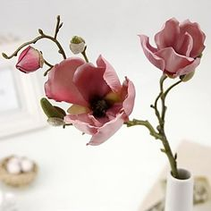 European Style Vintga 3 Head/Branch Magnolia Flower Artificial Flower 2016 - $7.99