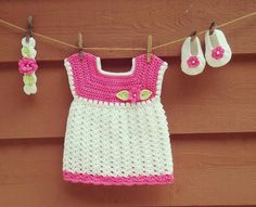 Crochet Baby Dress, Booties & Headband Set