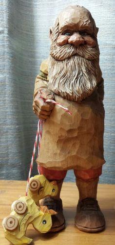 Hand carved handmade santa tree ornament wood carving