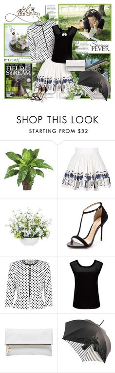 """Stand out in the crowd; be creative."" by berry1975 ❤ liked on Polyvore featuring Olympia Le-Tan, Lux-Art Silks, Alexandre Birman, Precis Petite, Forever New, Clare V., Chantal Thomass, Clutch, sandals and blackandwhite"