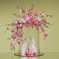 Easter cloche with spring garland...many cute ideas.