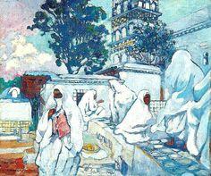 Algérie - Peintre Français Léon CAUVY (1874-1933), Huile sur toile 1915, Titre:Femmes algéroises le lendemain du Ramadan à Sidi Abderrahmane.