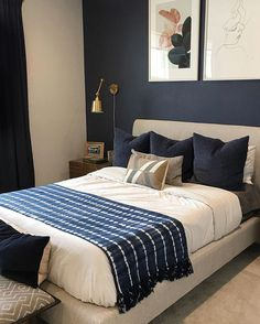 I don't know if this room will ever be finished as the walls need more art/photos but the furnishing is… Navy Gold Bedroom, Blue Master Bedroom, Contemporary Bedroom, Modern Bedroom, Diy Home Decor Bedroom, Bedroom Ideas, Home Interior Design, Home And Living, House