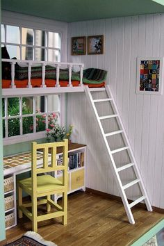 Great idea to incorporate in a doll house loft! Barbie Furniture, Dollhouse Furniture, Miniature Rooms, Miniature Houses, Photo Deco, Cosy Corner, Modern Dollhouse, Barbie House, Small World