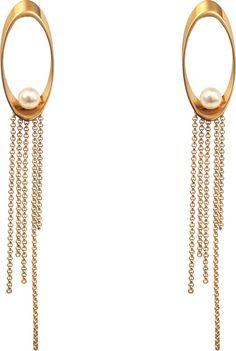 Hélène Zubeldia Glass Pearls and Chains Metal earrings