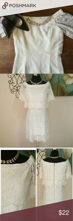 May & July Lace Dress Dress features a beautiful lace cover.  Entire dress is lined Cream color Size: M Slight cut off shoulders/neckline  Zipper back 50% cotton  50% polyester May & July  Dresses Midi