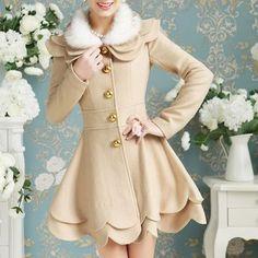 Elegant Long Sleeve Turn-Down Collar Layered Faux Fur Spliced Women's Coat (APRICOT,S) in Jackets & Coats | DressLily.com
