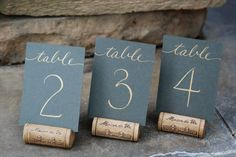 Mini Wedding Table Numbers Flat 2.5 x 3.5 by SouthernCalligraphy