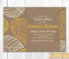 Fall Bridal Shower Invitation - Fall Leaves in Yellow & Orange. Fall Bridal Shower Invite, Baby Shower Invite or Birthday Invite.