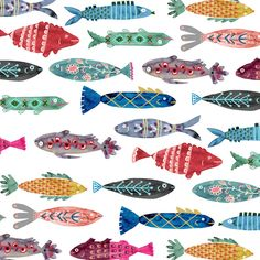Katie Vernon& news, updates, and musings on art, illustration, and life. Fish Patterns, Textures Patterns, Abstract Illustration, Motifs Animal, Fish Design, Colorful Fish, Fish Art, Animal Drawings, Drawing Animals