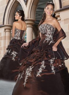Chocolate Ball Gown Strapless Bandage Floor Length Quinceanera Dresses With ...    yesindress.com