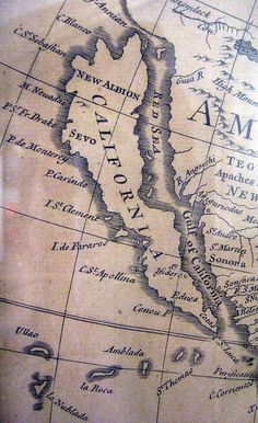 California as an island -from an old map, created when California was believed to be an island.