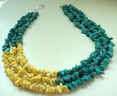 Turquoise and Yellow Chalk Turquoise Necklace - Color Block  Statement Necklace- FREE Earrings -Trending for Spring 2013