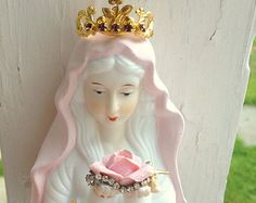 $68 VINTAGE Pink SHABBY JEWELLED Mother Mary Rhinestone Bust Figurine Statue Gold Metal Crown Tiara Crucifix Rhinestones Blessed Virgin Madonna