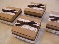Mini kraft Box - Truffle Box - Mini Gift Box - Treat Box - Favor Box (set of 12) love the lace paper $15 per 12