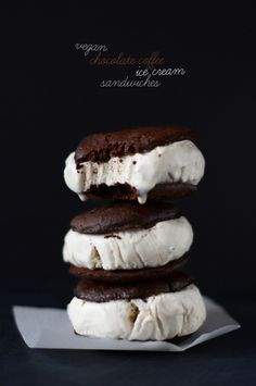 Vegan Chocolate Coffee Ice Cream Sandwiches