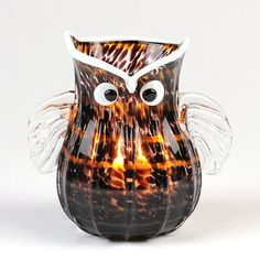 Owl Art Glass Vase