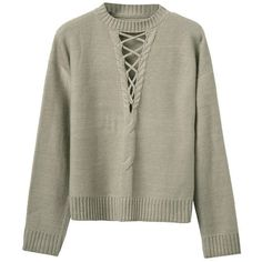 Gray Plunge Lace Up Front Long Sleeve Knit Jumper (£33) ❤ liked on 21102af3f12
