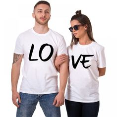 Lovers Couple Summer Funny Couple Women T Shirts Heart Love Printing Cool Men Short Sleeve Couple Boyfriend Clothing Couple Tees, Couple Tshirts, Women Clothing Stores Online, T Shirts For Women, Clothes For Women, Couple Clothes, Matching Hoodies, Matching Couple Outfits, Love T Shirt