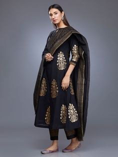 Black Chanderi Block Printed Suit - Set of 3