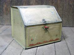Vintage tin bread box or pie safe for your retro kitchen.