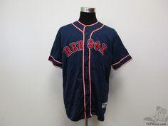True Fan Boston Red Sox Button Up SEWN Baseball Jersey sz L Large MLB AL Blue #TrueFan #BostonRedSox #tcpkickz