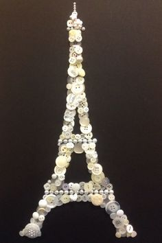 Button art craft Eiffel tower Paris black an white
