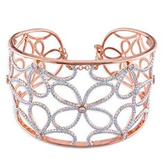 Miadora 14k Rose Gold 3 3/5ct TDW Diamond Bangle Bracelet (G-H, SI1-SI2)