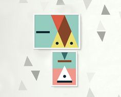 Set of 2 illustrations. Prints 'Triangles'. by rachelspuzzlethings