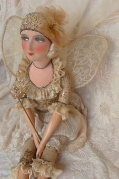 RARE ANTIQUE FRENCH BOUDOIR DOLL. FAIRY DOLL . PARIS.FASHION DOLL C 1920