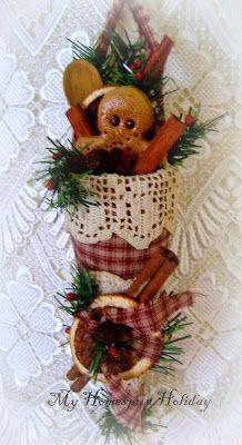 My Homespun Holiday: Victorian cones/ tussie mussie. Homespun cone.
