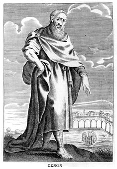 Zeno of Citium, ancient Greek Stoic philosopher. A member of an originally Greek school of philosophy, founded by Zeno about 308 b.c., believing that God determined everything for the best and that virtue is sufficient for happiness. Its later Roman form advocated the calm acceptance of all occurrences as the unavoidable result of divine will or of the natural order.