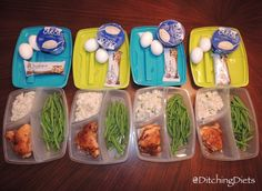 Meal Prep - Spiced Chicken Thighs with Garlicky Rice, green beans, Quest Nutrition Bars, Boiled Eggs, Greek Yogurt
