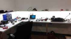 New shelves New #LED #lighting and of course any lab isn't complete without cat.  #arduino #raspberrypi #lab #electronic #electronics #soldering #hobby by georges_circuits
