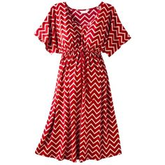 """I know it's """"maternity"""", but Target's maternity is just """"roomy"""". Can work for regular sized ladies too, and plus ladies looking for more options.   Ma Cherie Maternity Short-Sleeve V-Neck Dress - Red/Khaki"""
