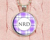 Monogram Pendant, Custom Initials, Letter Necklace, Personalized - Plaid Jewelry, Stripes, Geometric, Pink, White