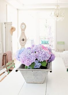 Dreamy Whites: Hungarian Zinc Tubs, Hydrangeas, Good Housekeeping, a Favorite Cookbook