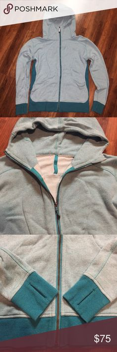Heathered Peacock Blue On The Daily Hoodie Excellent Condition - no rip tag but size dot confirms size 10.  No signs of wear that I can see.  I believe this is the soft terry material.  Logo sewn on back Feel free to Make An Offer lululemon athletica Tops Sweatshirts & Hoodies