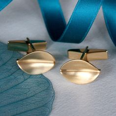00ca260f6 brushed matt gold leaf cufflinks by louise mary designs |  notonthehighstreet.com Leaf Jewelry,
