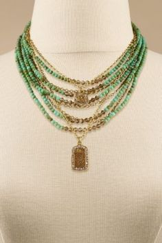 Adelaide layered necklace, gold and turquoise with some black crystals for a little sparkle.