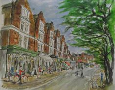 Print from watercolour, Friar Stiles Road, Richmond upon Thames, 2015.   By London-based artist, Caroline Sayer See more at: www.carolinesayer.co.uk Richmond Upon Thames, Stiles, Watercolor Landscape, Life Drawing, Watercolours, Sculptures, London, Humor, Drawings