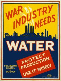 War Industry Needs Water.  US.  WPA.  Philadelphia Council of Defense.  Artist:  Glenn Stuart Pearce.  c. 1941.