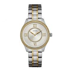 W0825L2 Γυναικείο κομψό ρολόι GUESS με ασημί καντράν, πέτρες και ατσάλινο-χρυσό μπρασελέ | Γυναικεία ρολόγια GUESS ΤΣΑΛΔΑΡΗΣ στο Χαλάνδρι #Guess #ασημι #επιχρυσο #μπρασελε #ρολοι