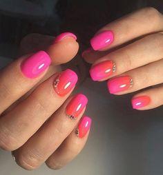 Bright summer nails, Color transition nails, Evening nails, Ideas of gradient nails, Original nails, Party nails, Rainbow nails, Red and pink nails