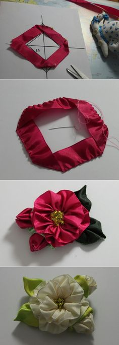 Silk Embroidery Hats Silk Ribbon Embroidery Designs And Techniques By Ann Cox Ribbon Art, Fabric Ribbon, Ribbon Crafts, Flower Crafts, Fabric Crafts, Ribbon Rosettes, Wired Ribbon, Easy Paper Flowers, Cloth Flowers