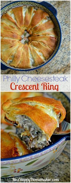 Food recipe Philly Cheesesteak Crescent Ring - all the flavors of your favorite philly cheesesteak wrapped up in a super easy crescent roll ring - YUM! Stromboli, Calzone, Beef Dishes, Food Dishes, Main Dishes, Beef Recipes, Cooking Recipes, Cooking Games, Fast Recipes