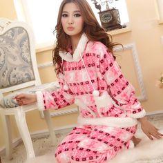 2012Fashion Winter pajamas for women Striped snowflake Striped pajamas Christmas gift cute Cartoon Sleepwear nightclothes $35.50